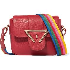 Sara Battaglia Lucy mini textured-leather shoulder bag (790 AUD) ❤ liked on Polyvore featuring bags, handbags, shoulder bags, red, shoulder handbags, red shoulder bag, multi colored purses, colorful handbags and miniature purse