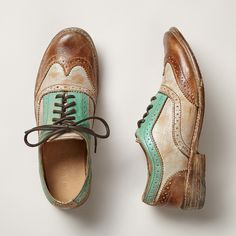 CHANNING OXFORD SHOES--Hand finished with a wash of color, these Oxfords take a post-modern spin on a classic look. Each pair varies slightly due to their handmade nature. Imported. Whole and half sizes 6 to 10, 11.