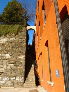 Georgetown, DC  The Exorcist Steps.  It looks as though the orange wall has been extended forward, toward Street.