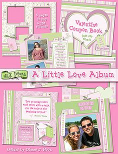 Download 'A Little Love Album' this week (just in time for Valentine's Day) & SAVE 25%! (only through 2/12/14!) This charming digital scrabpook album is so easy to use! Just add photos of you & your sweetheart for a perfectly coordinated album, or make it into a Valentine's Day coupon book, or simply add some quotes & thoughts about LOVE!