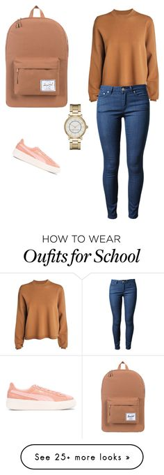 """Back to school outfit❤❤"" by angieabourezk on Polyvore featuring Puma, Acne Studios, Herschel Supply Co. and Marc Jacobs"