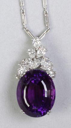 "Richard KREMENTZ - Amethyst, Diamond & Platinum Necklace - Circa 1960's. 18 x 15 x 11.25 mm. Dimensions Pendant Ht. 1 1/8"", Chain L 18"" •$1,650.00"