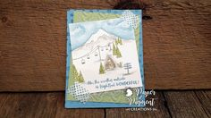 Christmas Card using Stampin Up Mountain Adventure Stamp Set. Decorative Mask on Card Base. Tempting Turquoise, Shimmer White, Pear Pizzazz Cardstocks. Tempting Turquoise, Pear Pizzazz, Soft Suede and Smokey Slate Inks. Cable Knit Embossing folder. Foil Acetate. Custom Washi using Timeless Textures with Tempting Turquoise Ink on White Tissue Paper using Tearable Tape. Used Embossing Pen and Iridescent Ice Embossing Powder on Mountain Top, Trees, and Top of lodge for added shimmer.