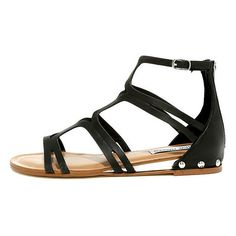 Steve Madden Delta Black Leather Gladiator Sandals ($79) ❤ liked on Polyvore featuring shoes, sandals, black, high-heel gladiator sandals, black studded sandals, black leather sandals, high heel wedge sandals and gladiator sandals