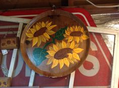 Hand painted sunflower wooden pizza tray