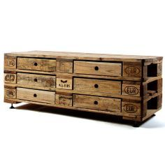 Unusual Kimidori chest of 6 drawers from recycled pallets, quality workmanship and oiled