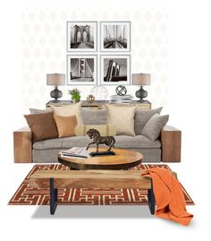 """A Masculine Living Room"" by cemen ❤ liked on Polyvore featuring interior, interiors, interior design, home, home decor, interior decorating, Barclay Butera, Eichholtz, H&M and Dot & Bo"