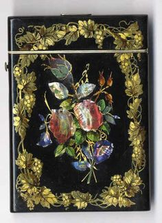 ~ Beautiful Hand Decorated Papier Mache Card Case With Abalone Inlay ~