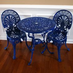 Chinoiserie Sapphire Blue Vintage Patio Chairs and Table Set. Garden Furniture. Sun room. Regal Federal Blue. Peacock Fan Back. Greek Key.