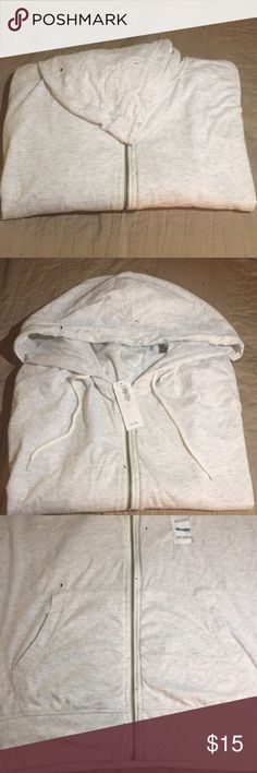 Mens long sleeve zip up hoodie Light weight fabric in a light grey, long sleeve zip up hoodie. Drawstring hood with pockets in the front. Old Navy Shirts Sweatshirts & Hoodies