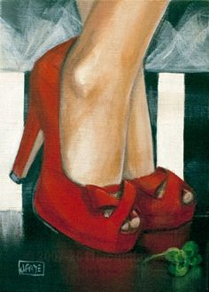 Contemporary paintings by artist Jacqui Faye specializing in figurative works in acrylics on canvas. Best known for her Red Shoe Dailies and Red Shoe art series. Art Painting Gallery, Shoe Painting, Canvas Art Projects, Decoupage, Shoe Sketches, Outfits Damen, Hand Painted Canvas, Arte Pop, Shoe Art