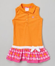 Another great find on #zulily! Orange & Magenta Drop-Waist Polo Dress - Infant, Toddler & Girls #zulilyfinds