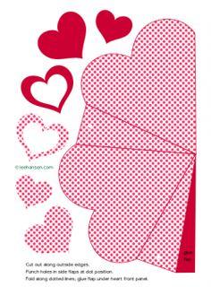 Printable heart shaped box craft sheet - print and cut to make a heart gift box