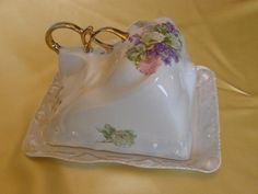 Antique Victoria Austria Porcelain Butter Cheese Dish Floral Pattern EX Cond | eBay