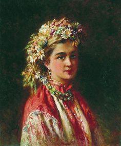 Girl wering a Crown by Konstantin Makovsky.