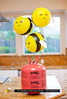Buzz, buzz, buzzzzzzzzzzzz! These DIY Bumble Bee Balloons are such a fun project for any bee-themed birthday party or baby shower... or just as a fun surprise to brighten someone's day! Here's how you make them: Helpful tip: I love using helium with this project to make the bees look like they're actually 'flying', but this does mean you'll need to make them the day of your party/surprise so that the helium stays strong... SO, if you're pressed for time or need to make a lot of them for the…