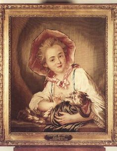 * Une petite fille jouant avec un chat Panneau de tapisserie Manufacture des Gobelins COZETTE fils D'après DROUAIS - Portrait de la fille de Charles-François Silvestre, peintre du roi de Pologne