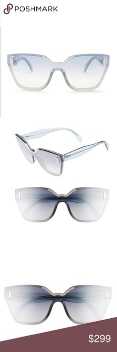 Prada Mirrored Shield Sunglasses Elevate your street style with suave, rimless sunglasses featuring gradient, mirrored lenses and polished-logo inlays at the temples. 61mm lens width; 15mm bridge width; 152mm temple length 100% UV protection Gradient polyamide lenses Propionate Made in Italy Comes with original box, dust bag and papers. Prada Accessories Sunglasses