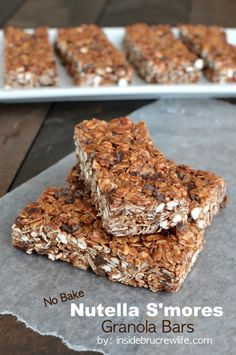 No Bake Nutella S'mores Granola Bars - easy no bake granola bars that are perfect for breakfast or as after school snacks @Inside BruCrew Life