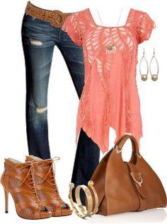 crocheted top, Jeans, bracket and earrings
