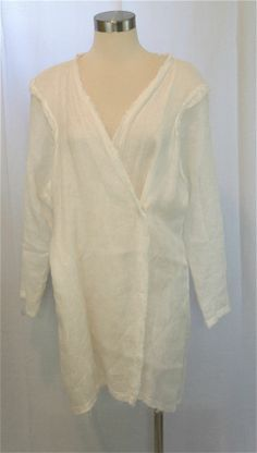 Silvia Tcherassi White Linen Tunic Long Sleeves Raw Edges Tie and Snap Closure
