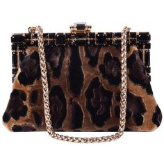 Pre-owned cluch (3,185 PEN) ❤ liked on Polyvore featuring bags, handbags, clutches, black, velvet evening bag, chain handbags, evening handbags, leopard clutches and leopard purse