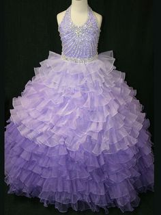 Halter Beaded Bodice Little Rosie Pageant Dress LR802: PageantDesigns.com
