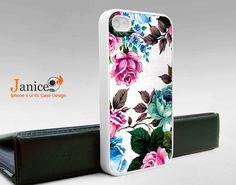 iphone 4 case iphone case iphone 4s case iphone 4 cover  classic flower red blue green colorized unique Iphone case. $13.99, via Etsy.