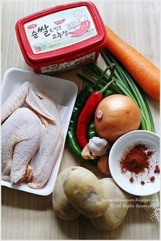 Ingredients for Korean Gochujang Chicken Stew
