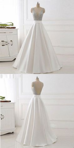 Ivory Plunging V Neck Prom Dress Sleeveless Formal Evening Gown With Beaded Bodice P2048