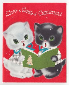 Vintage Greeting Card Christmas Cute Kittens Cat Carolers Glitter PopUp Norcross