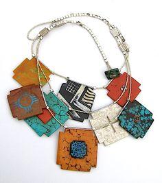 Necklace |  Tory Hughs.  Santa Fe Standards Neckplece; polymer, steel, silver, polymer 'turquoise' clasp