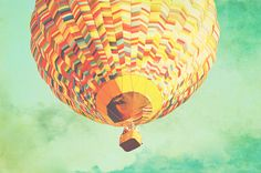 Vintage Sky Hot Air Balloon Art Print