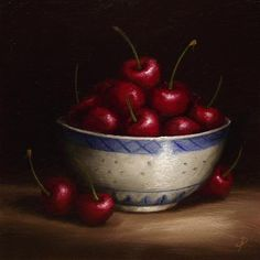 "Daily Paintworks - ""Cherry Bowl"" - Original Fine Art for Sale - © Jane Palmer"