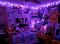 Purple and blue aesthetic neon lights bedroom in red room lighting stores amp client id for Christmas Lights In Bedroom, Bedroom Decor Lights, String Lights In The Bedroom, Indie Room Decor, Cute Room Decor, Room Ideas Bedroom, Bedroom Lighting, Bedroom Designs, Neon Room Decor