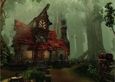 Online digital art gallery of best pictures and photos from portfolios of digital artists. Manually processing and aggregation artworks into the thematic digital art galleries. Fantasy Forest, 3d Fantasy, Fantasy House, Fantasy Places, Forest Fairy, Fantasy Kunst, Fantasy World, Fantasy Town, Scenery Background