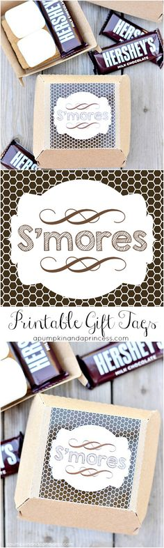 S'mores Printable Gift Tags - Party Favors