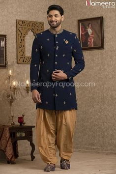 Buy Men's Sherwani-Pakistani Elegant Blue Sherwani for Groom Online-Men's Wear With Zari, Embroidery, Work In USA, UK, Canada, Australia Visit Now : www.NameerabyFarooq.com or Call / Whatsapp : +1 732-910-5427 Blue Sherwani, Sherwani Groom, Mens Sherwani, Work In Usa, Gold Fabric, Cotton Silk, Dress Making, Party Wear