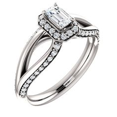 0.25 Ct Emerald Diamond Engagement Ring 14k White Gold – Goldia.com
