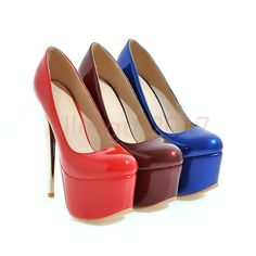 Sexy Glitzer High Heels Elegant Damenschuhe Lackleder Platform Farbwahl Gr.30-48