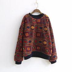 Vintage Print Floral O-Neck Long Sleeve Sweatshirts - Clothes - Sweaters Vintage Prints, Look Vintage, Vintage Stil, Vintage Ideas, Pullover Hoodie, Sweater Hoodie, Hipster Sweater, Hoodie Sweatshirts, Men Sweater