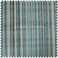 New Designer Modern Striped Pattern Velvet Blue Teals Shades Of Colour Perfect For Furnishing Upholstery Fabric - Sold By The 10 Metre