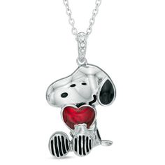 ASPCA® Tender Voices™ Diamond Accent Peanuts® Sitting Snoopy Pendant with Red Enamel in Sterling Silver