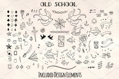 Welcome to the first edition of the Old School graphics kit. Each element has been hand drawn using an ink pen, scanned in and then converted to vector for Stick N Poke Tattoo, Stick And Poke, Dice Tattoo, Illustration Tattoo, Old School Ink, Tattoo Pain Chart, One Word Tattoos, Ankle Tattoo Small, Small Tattoos