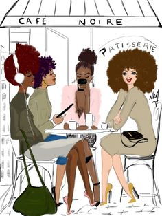 French Artist, Nicholle Kobi, Brings Black Girl Magic To Life Through Her Illustrations. Patisserie by Dress and black people girl in Paris tower. Black Girl Art, Black Women Art, Black Girls Rock, Black Girl Magic, Art Girl, Black Girl Style, Black Men, Natural Hair Art, Natural Hair Styles