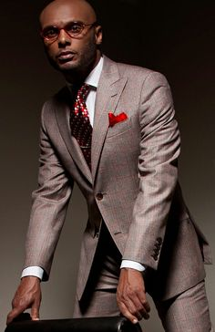 "Kenny Lattimore in Geoff Duran Spring/Summer 2012 ""Taste"" Couture Collection - Executive Heather Chocolate Brown Wool Plaid with Red and Peach Stripes 