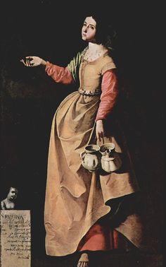 Santa Rufina. por Francisco de Zurbarán  Porta en la mano unos cacharros de cerámica como atributo, por su relación con la alfarería.