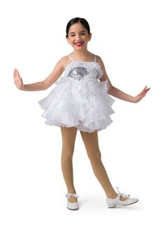 Dress with attached leotard: silver sequins, white organza, white stiff tricot, and white spandex. Trim: white 3D floral appliqué with pearls, white organza ruffles, and white adjustable straps. Headpiece included #dancecostumes #firstrecital #costumegallery #dancecompetition #ballerina #babyballerina #tutu #tots Ballet Costumes, Dance Costumes, White Spandex, Baby Ballerina, Jazz Shoes, Dance Tights, Tiny Dancer, Silver Sequin, Dance Outfits