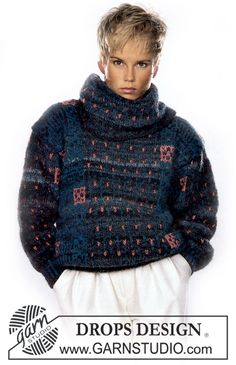 """DROPS jumper in """"Musarde"""" with pattern borders. Size S – L. - Free pattern by DROPS Design"""