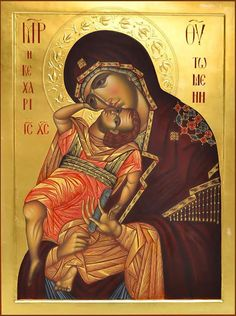 High quality hand-painted Orthodox icon of Our Lady of Vladimir. BlessedMart offers Religious icons in old Byzantine, Greek, Russian and Catholic style. Religious Images, Religious Icons, Religious Art, Writing Icon, Paint Icon, Russian Icons, Byzantine Icons, Holy Mary, Madonna And Child